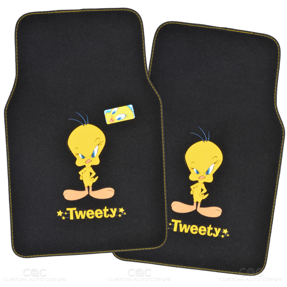 tweety bird floor mat for car suv 4 pc warner bros auto accessories full set ebay. Black Bedroom Furniture Sets. Home Design Ideas