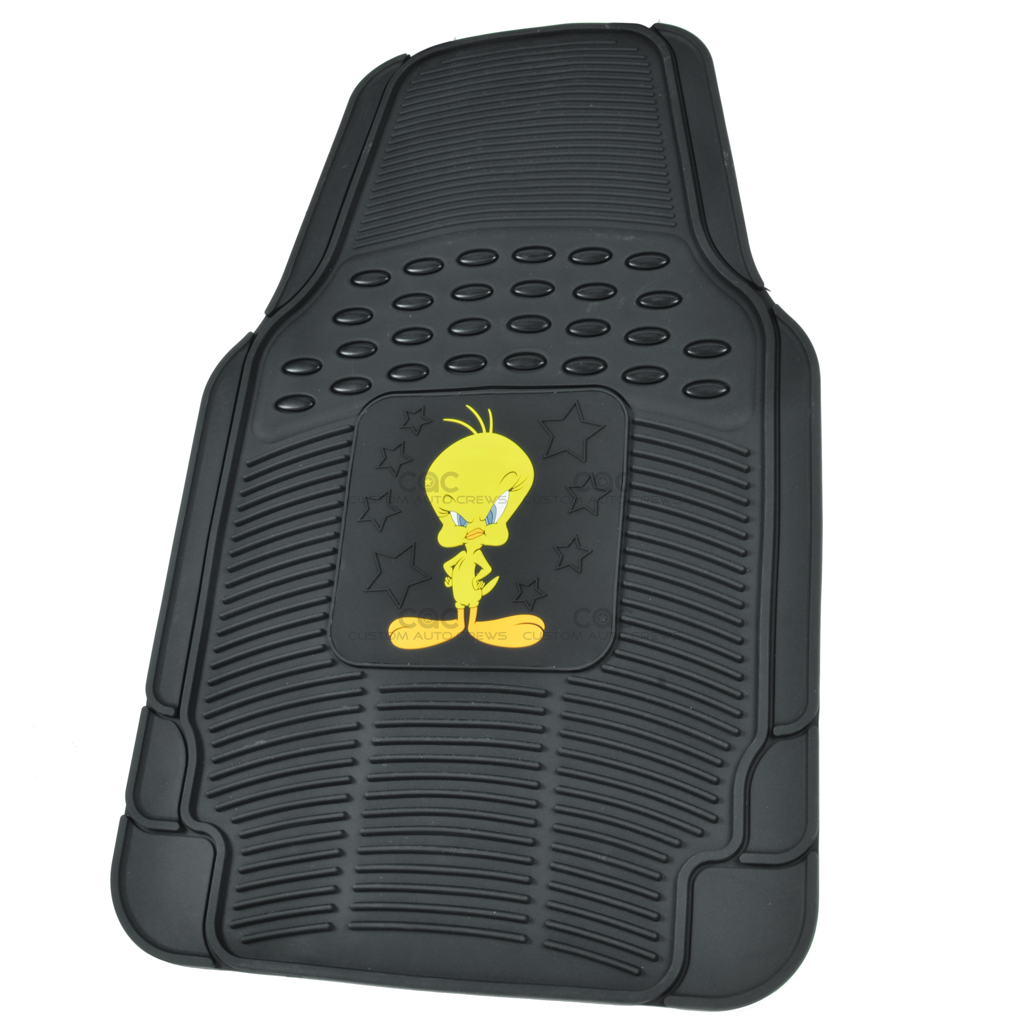 rubber floor mats gift set tweety bird character logo on black ebay. Black Bedroom Furniture Sets. Home Design Ideas