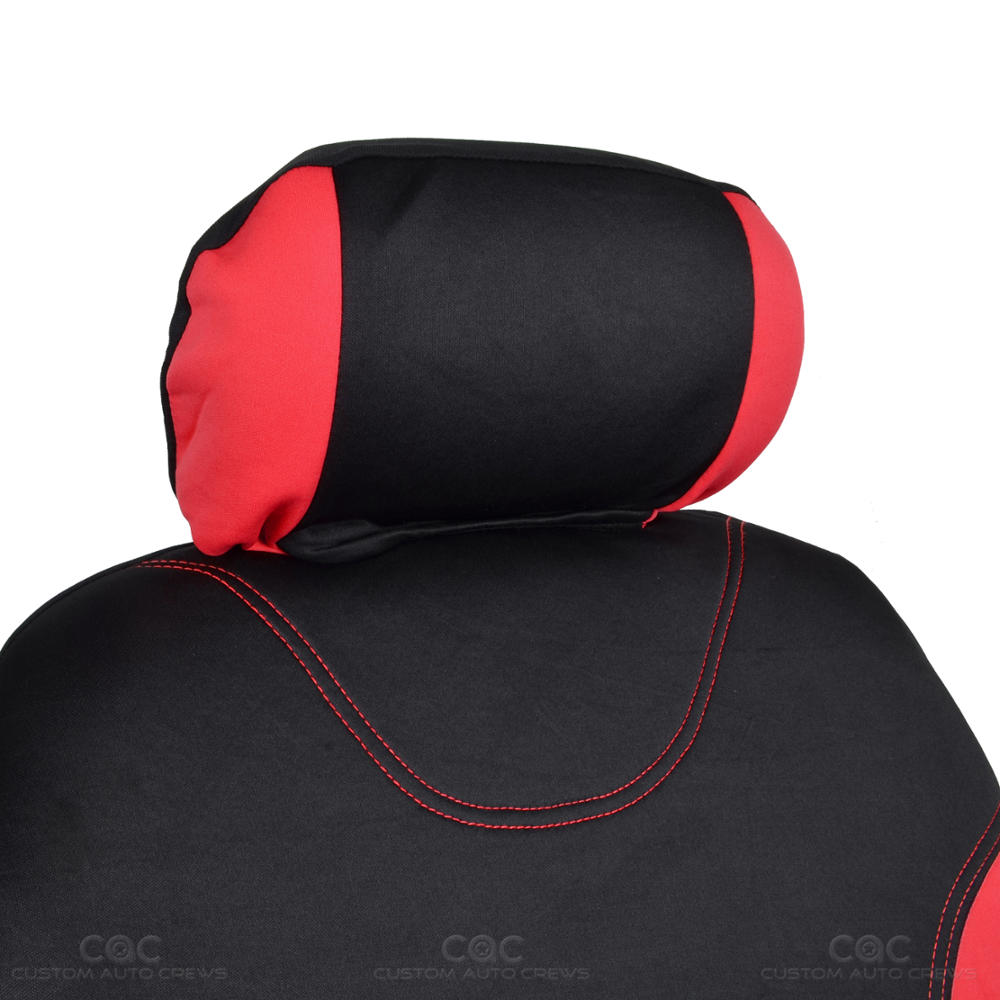 black and red cloth car seat covers split option bench full set. Black Bedroom Furniture Sets. Home Design Ideas