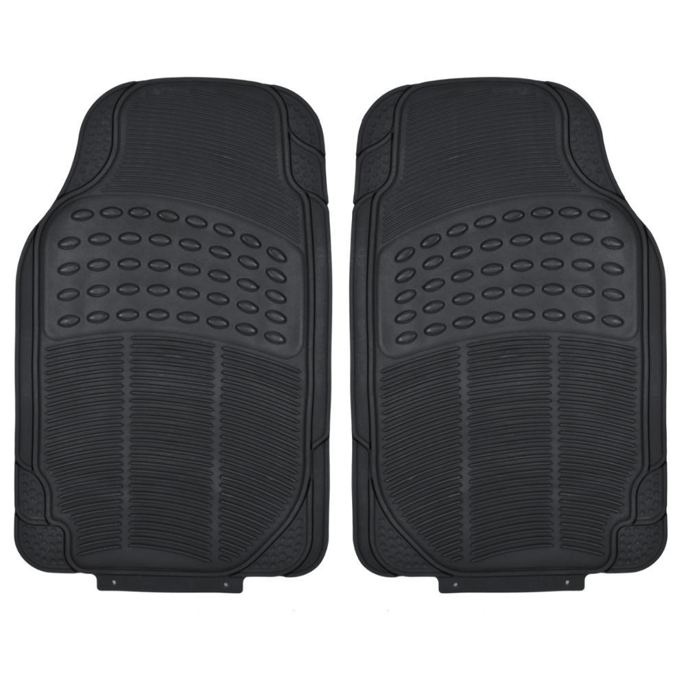 Rubber Floor Mats : Black rubber car floor mats front piece set all weather