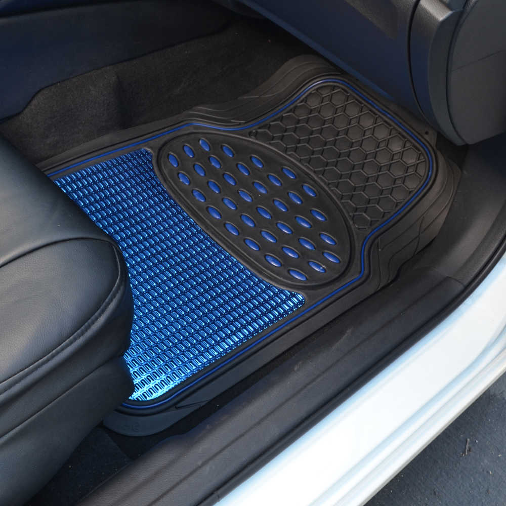 Shiny blue metallic finish vinyl floor mat and faux for Auto flooring