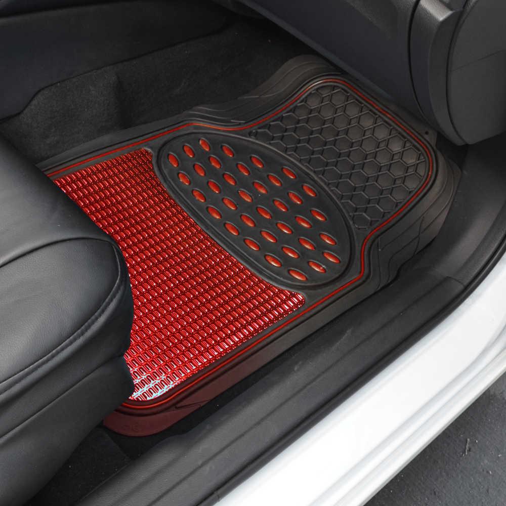 Red black metallic design rubber car floor mats red ring for Auto flooring