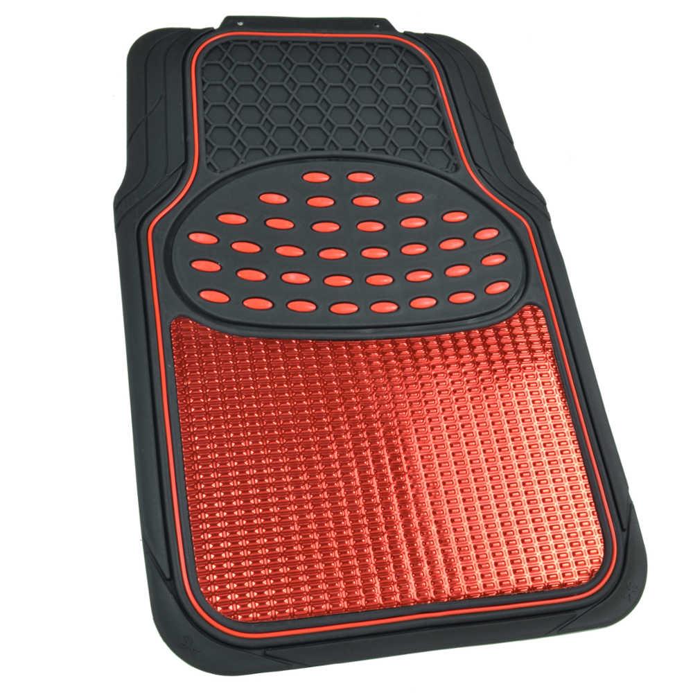 Vehicle Floor Mats : Red black metallic design rubber car floor mats ring