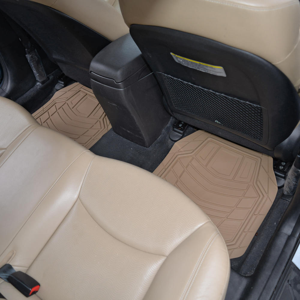 tan car floor mats hd all weather rubber liners beige front rear set ebay. Black Bedroom Furniture Sets. Home Design Ideas
