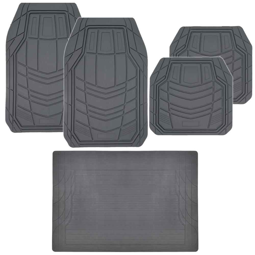 Grey Rubber Floor Mats For Car In Gray W/ Trunk Utility Mat