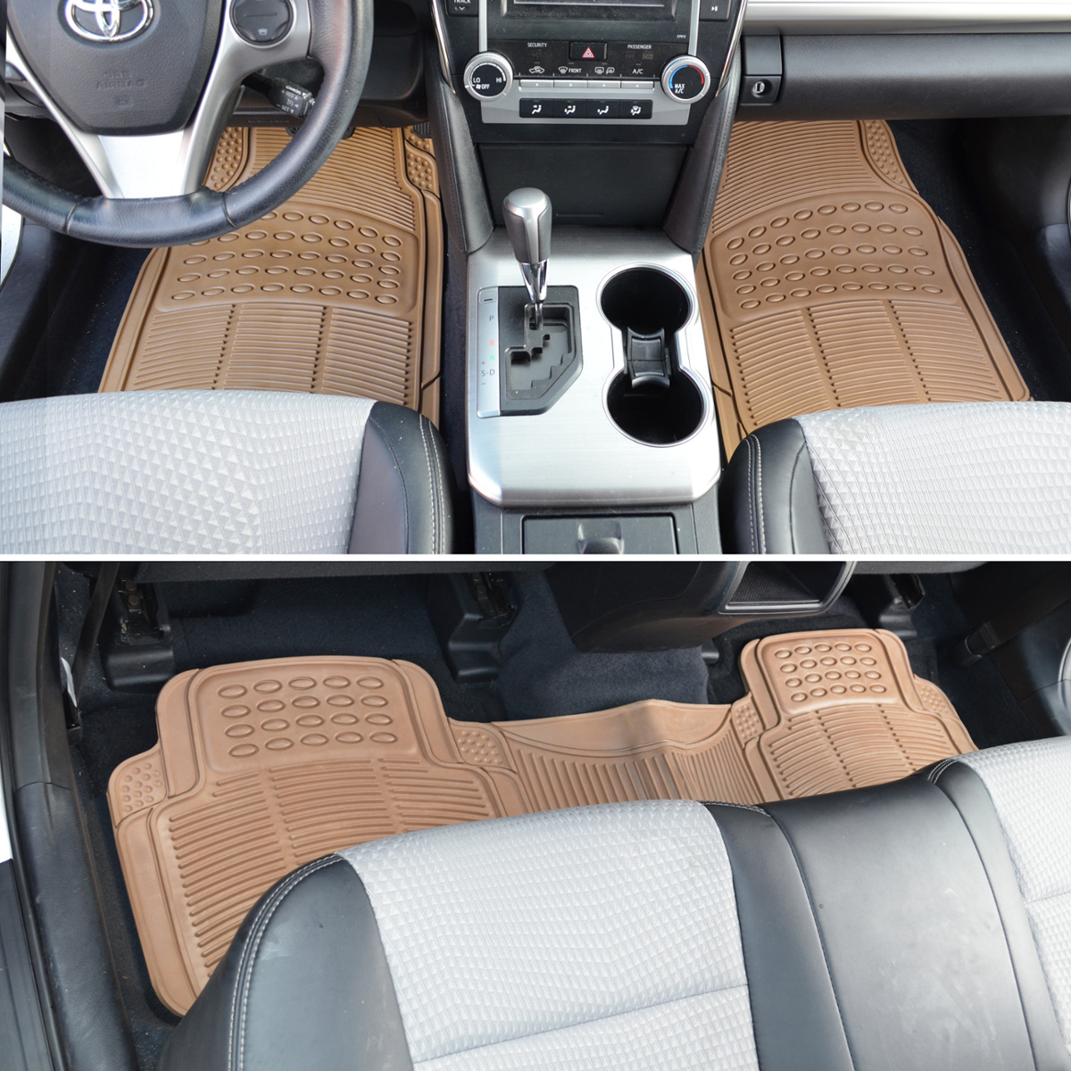 Rubber mats car - Car Floor Mats For All Weather Semi Custom Fit Heavy Duty Trimmable Beige 3pc