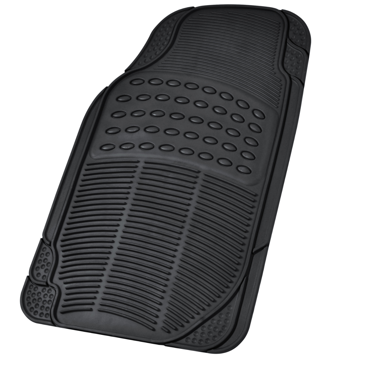Car rubber floor mats car suv truck black all weather for Auto flooring