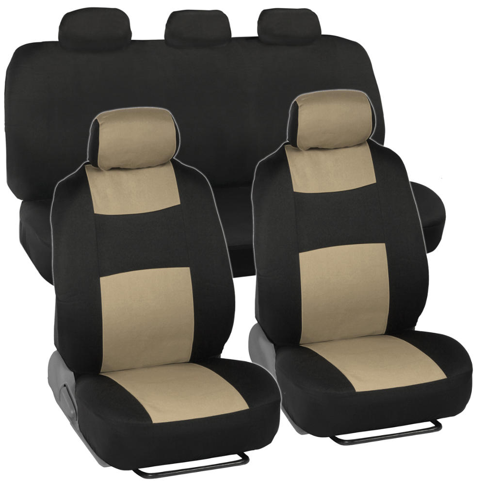 cloth car seat covers black beige headrests rear bench. Black Bedroom Furniture Sets. Home Design Ideas