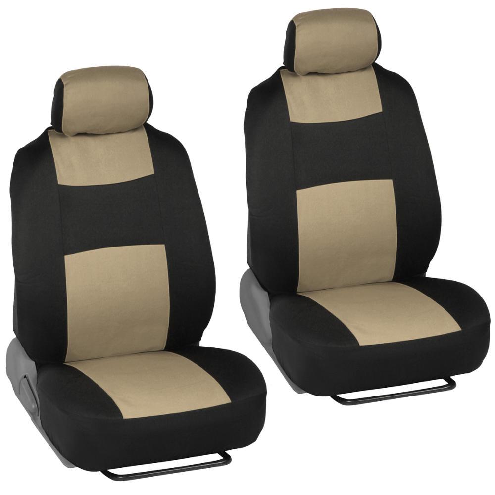 Beige black car interior split bench seat covers tone