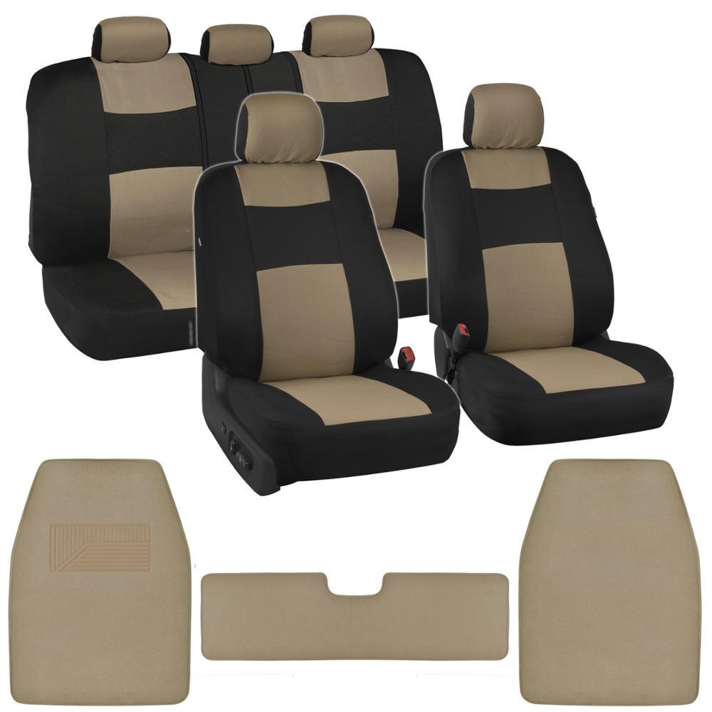Black/Beige Car Seat Covers Carpet Floor Mats Split Bench