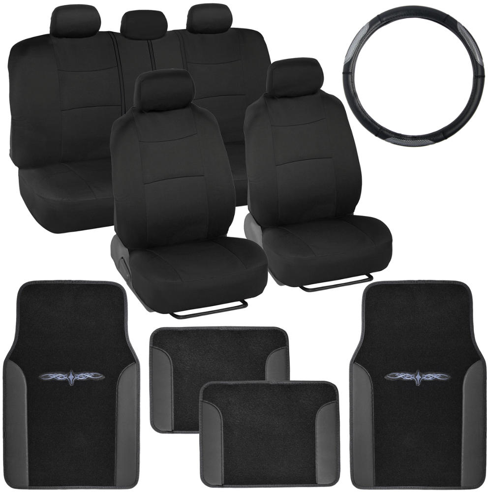 14 pc car seat covers set black black w pu leather trim carpet floor mats ebay. Black Bedroom Furniture Sets. Home Design Ideas