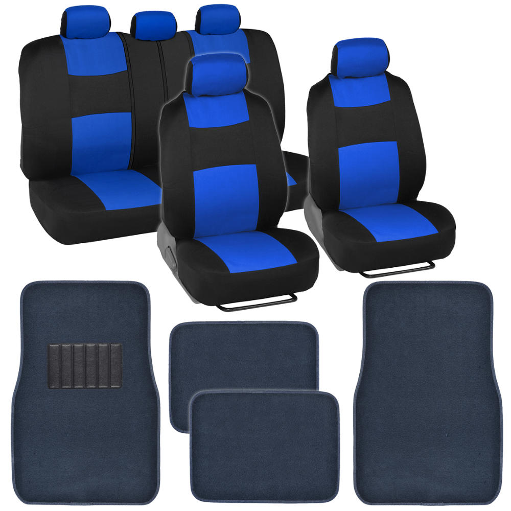 9 Piece Car Seat Covers Set Black And Blue W 4 Piece Blue