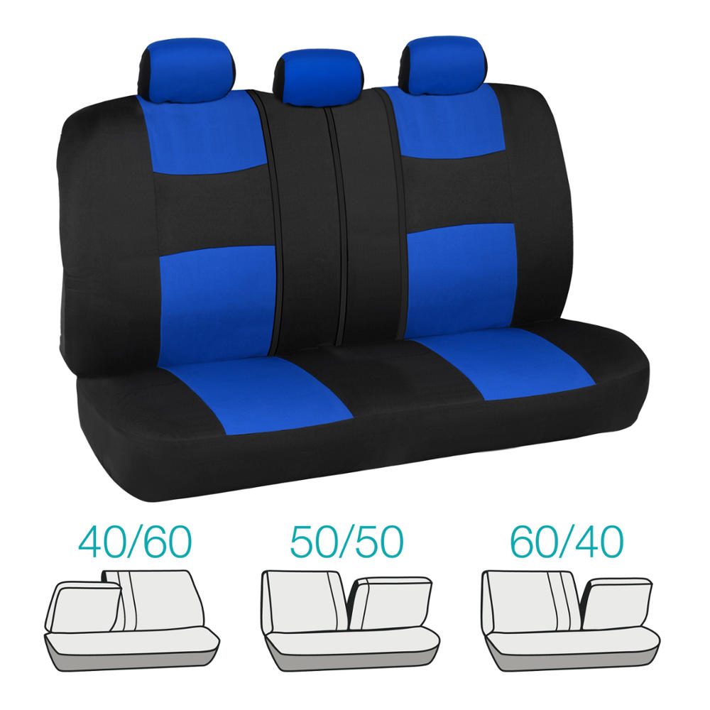 Car Seat Covers Set Black And Blue W PU Leather Trim