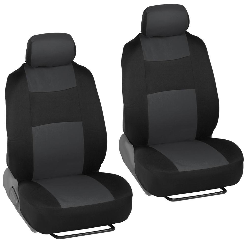 car seat covers set black charcoal grey w pu leather trim carpet pad floor mats ebay. Black Bedroom Furniture Sets. Home Design Ideas