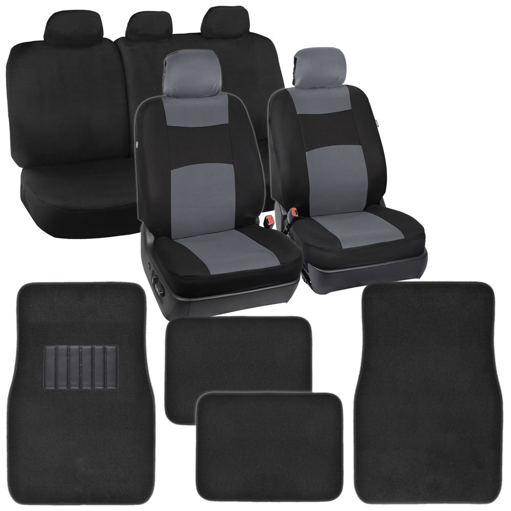 Auto Seat Covers For Car SUV Van Black Cool Gray Floor