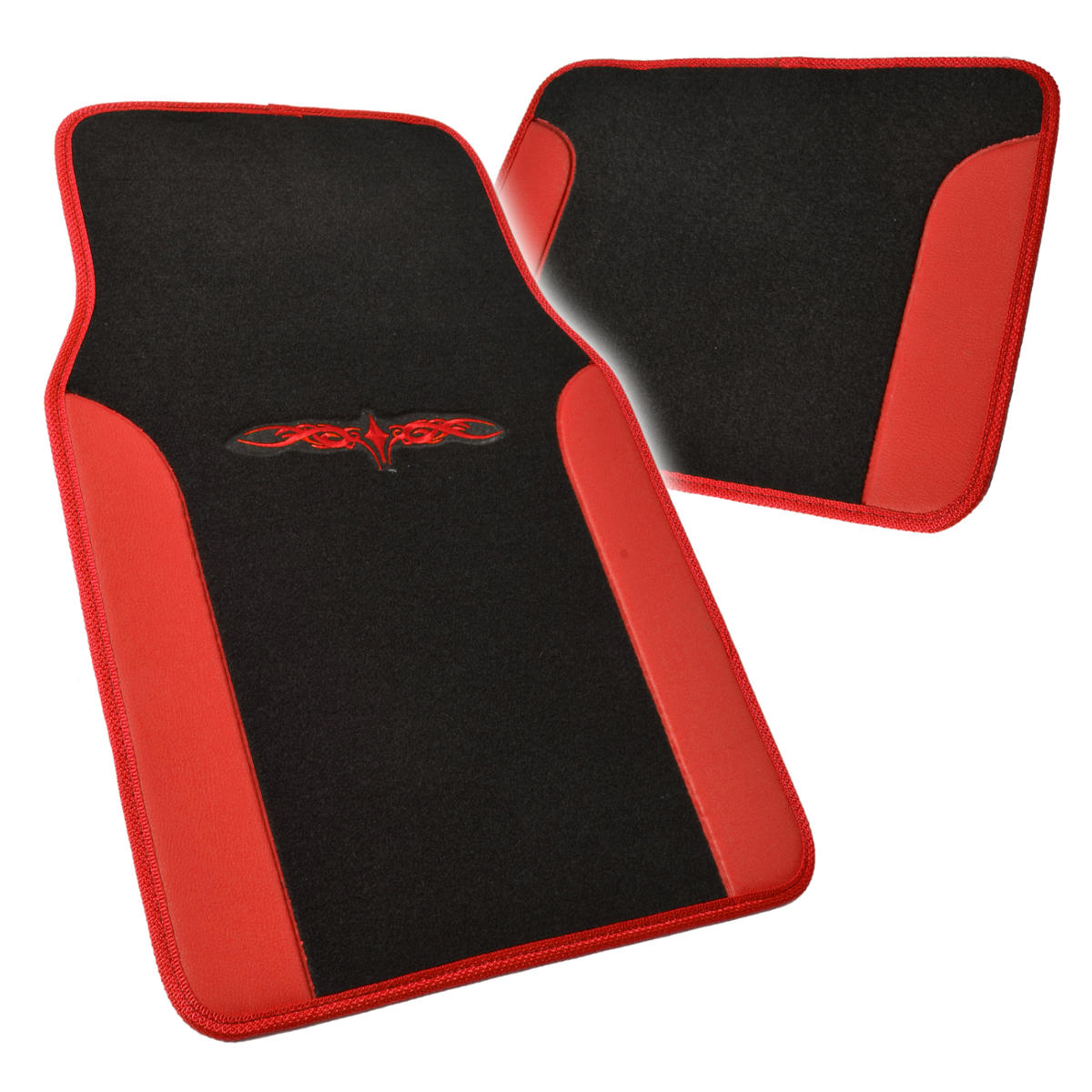 Car Seat Covers Set Black And Red W PU Leather Trim