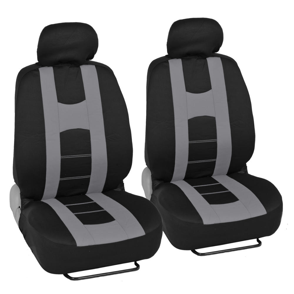 Complete Black Gray Front And Rear Set Car Seat Covers