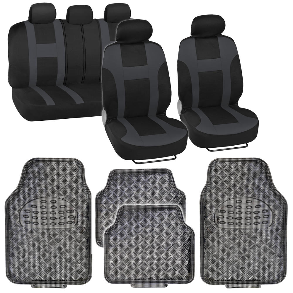 Rubber mats diamond plate - 9pc Monaco Charcoal Racing Stripe Seat Cover W Carbon Diamond Plate Rubber Mats