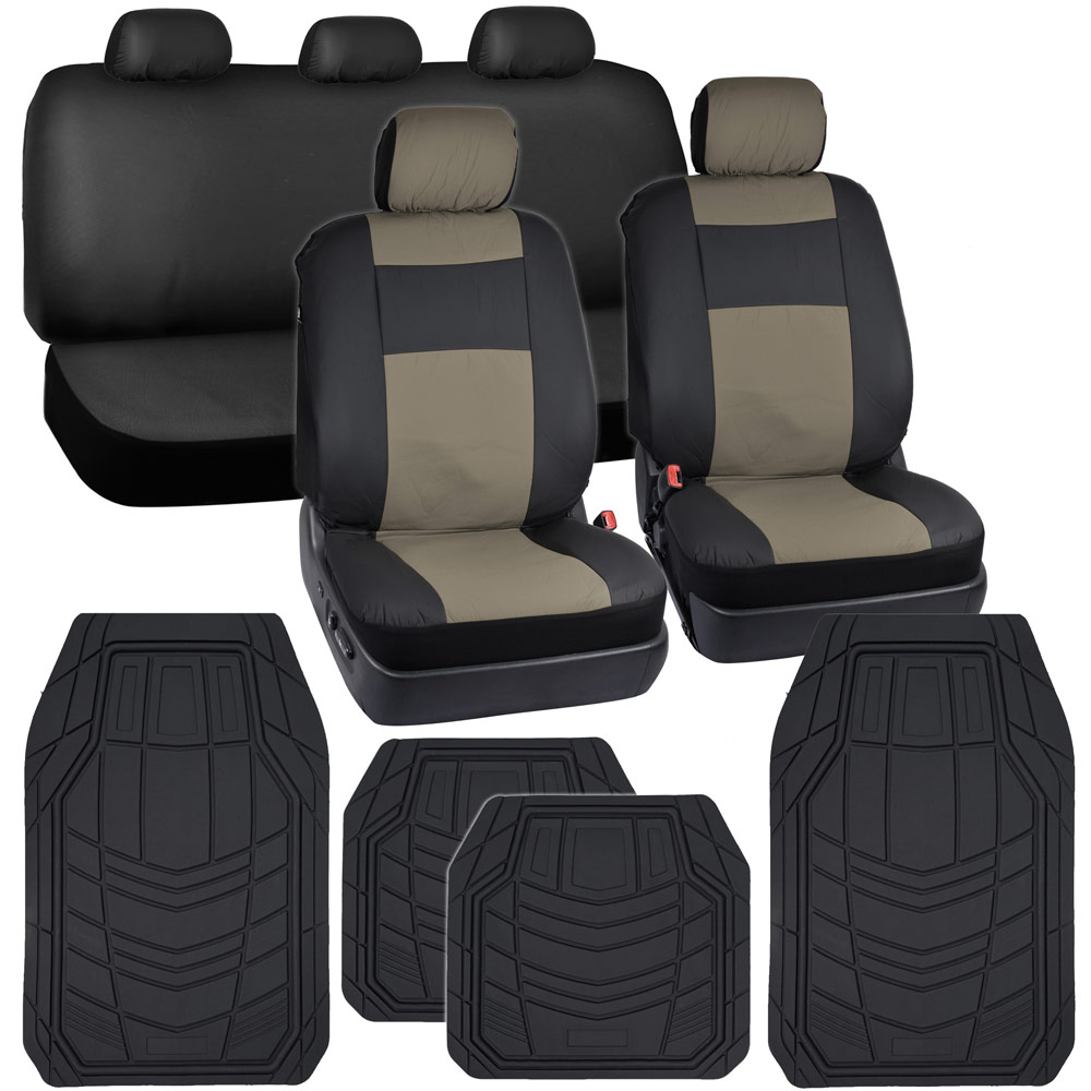 black tan synth leather car seat covers 4pc rubber floor mats auto interior ebay. Black Bedroom Furniture Sets. Home Design Ideas