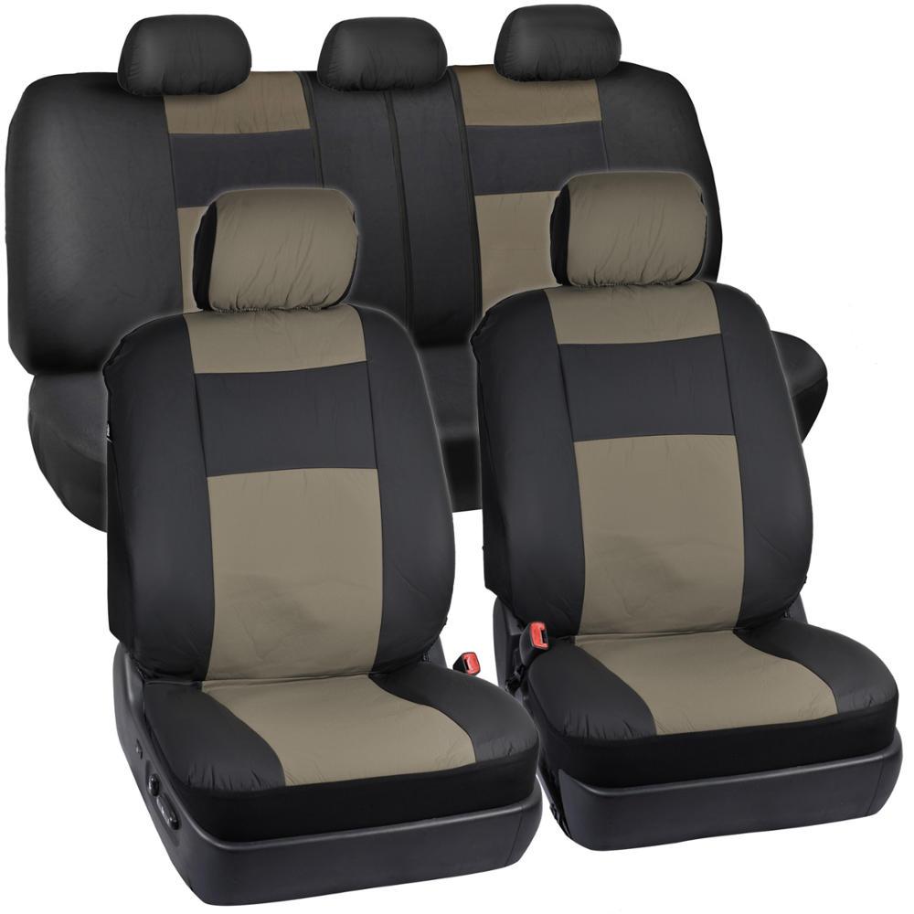 pu leather vinyl seat covers black tan beige steering. Black Bedroom Furniture Sets. Home Design Ideas