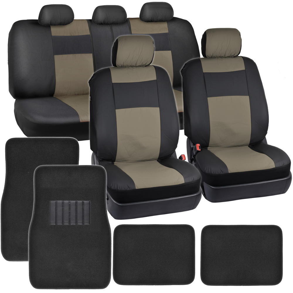 black beige synthetic leather car seat covers 4pc carpet floor mats auto ebay. Black Bedroom Furniture Sets. Home Design Ideas