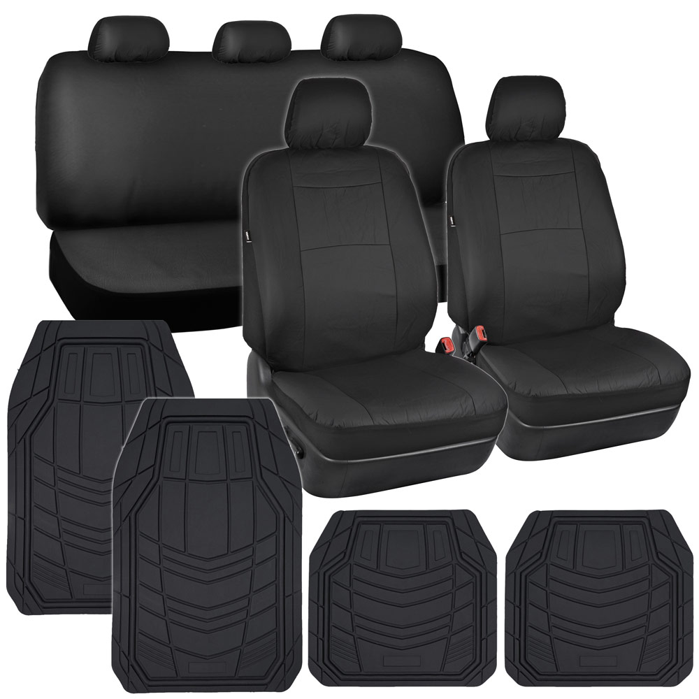 car seat covers black pu leather w heavy duty rubber floor mats for auto ebay. Black Bedroom Furniture Sets. Home Design Ideas