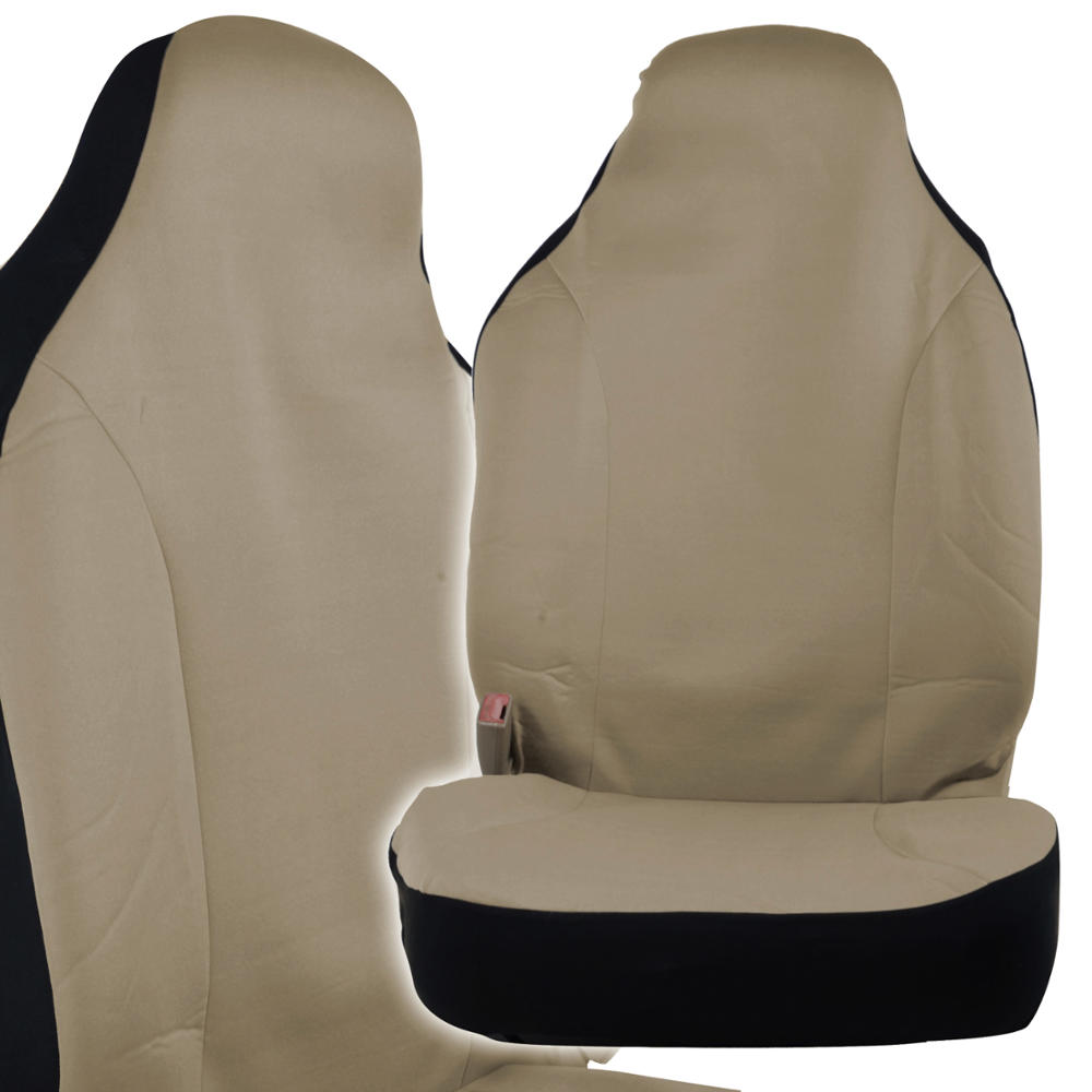front car seat covers polycloth beige w memory foam steering wheel cover. Black Bedroom Furniture Sets. Home Design Ideas