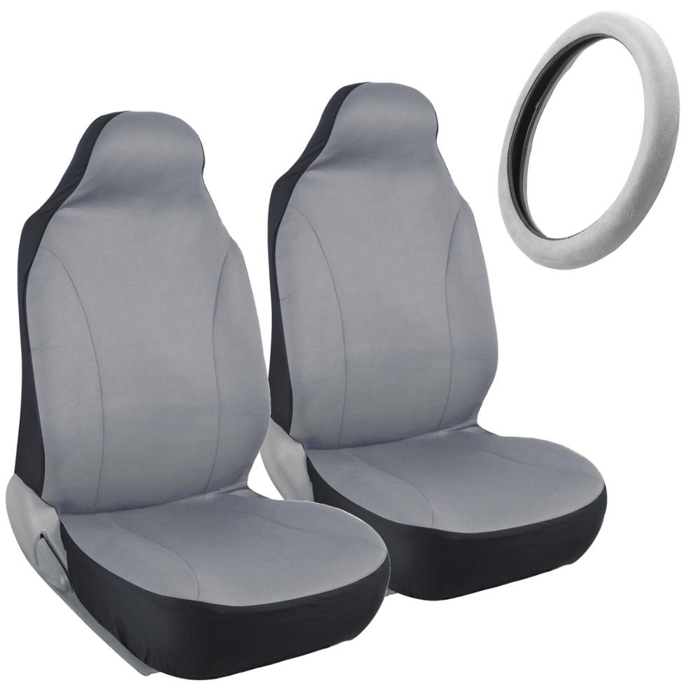 front car seat covers polycloth gray w memory foam steering wheel cover ebay. Black Bedroom Furniture Sets. Home Design Ideas