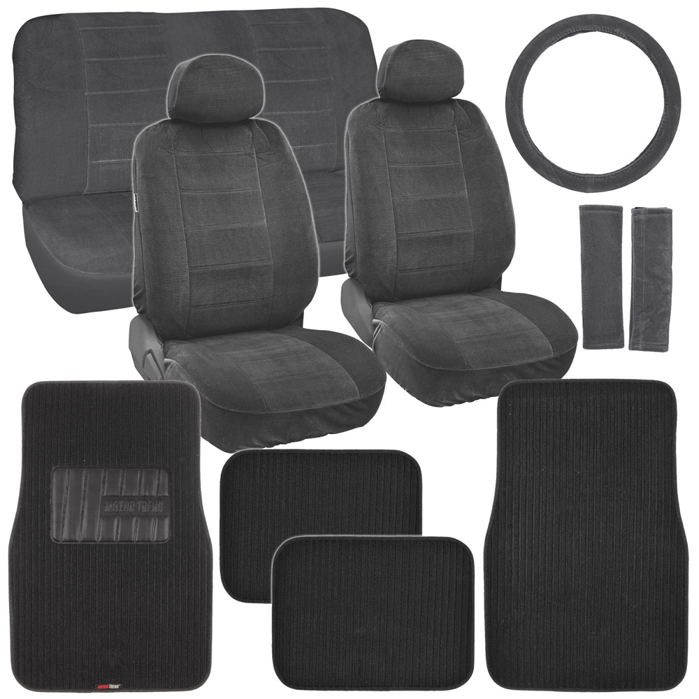 new vintage car seat covers in black w lined ribbed texture auto floor mats ebay. Black Bedroom Furniture Sets. Home Design Ideas