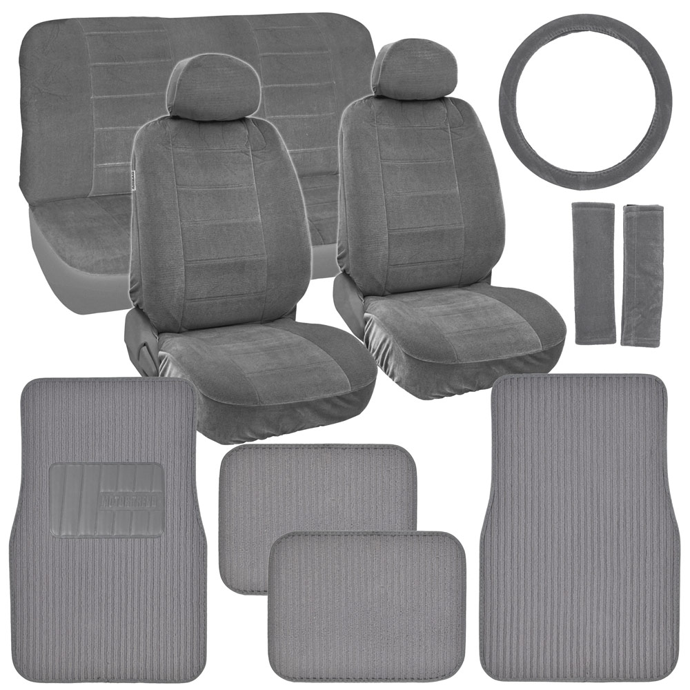 new vintage car seat covers in gray w lined ribbed texture auto floor mats ebay. Black Bedroom Furniture Sets. Home Design Ideas