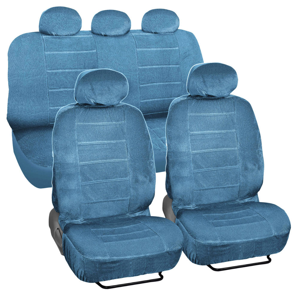 blue encore velour seat covers 9 piece car auto set ebay. Black Bedroom Furniture Sets. Home Design Ideas
