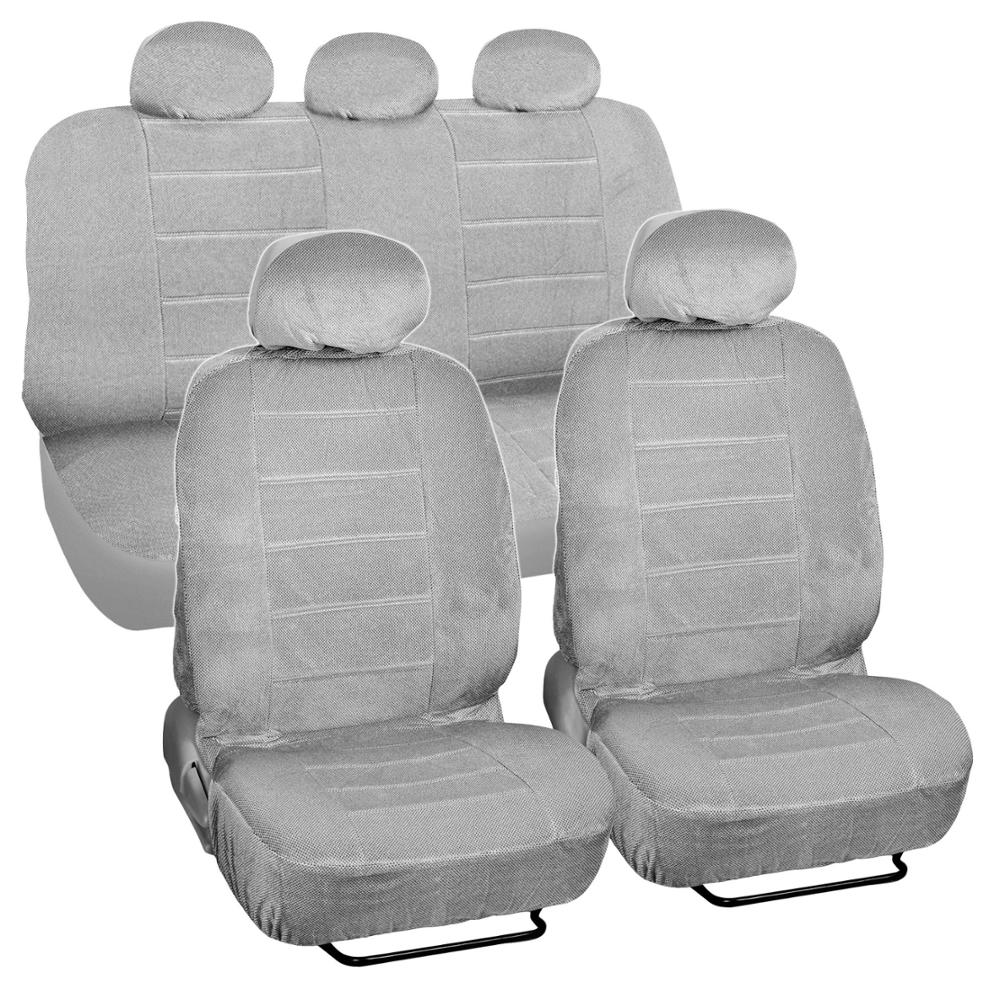 gray encore velour seat covers 9 piece car auto set ebay. Black Bedroom Furniture Sets. Home Design Ideas