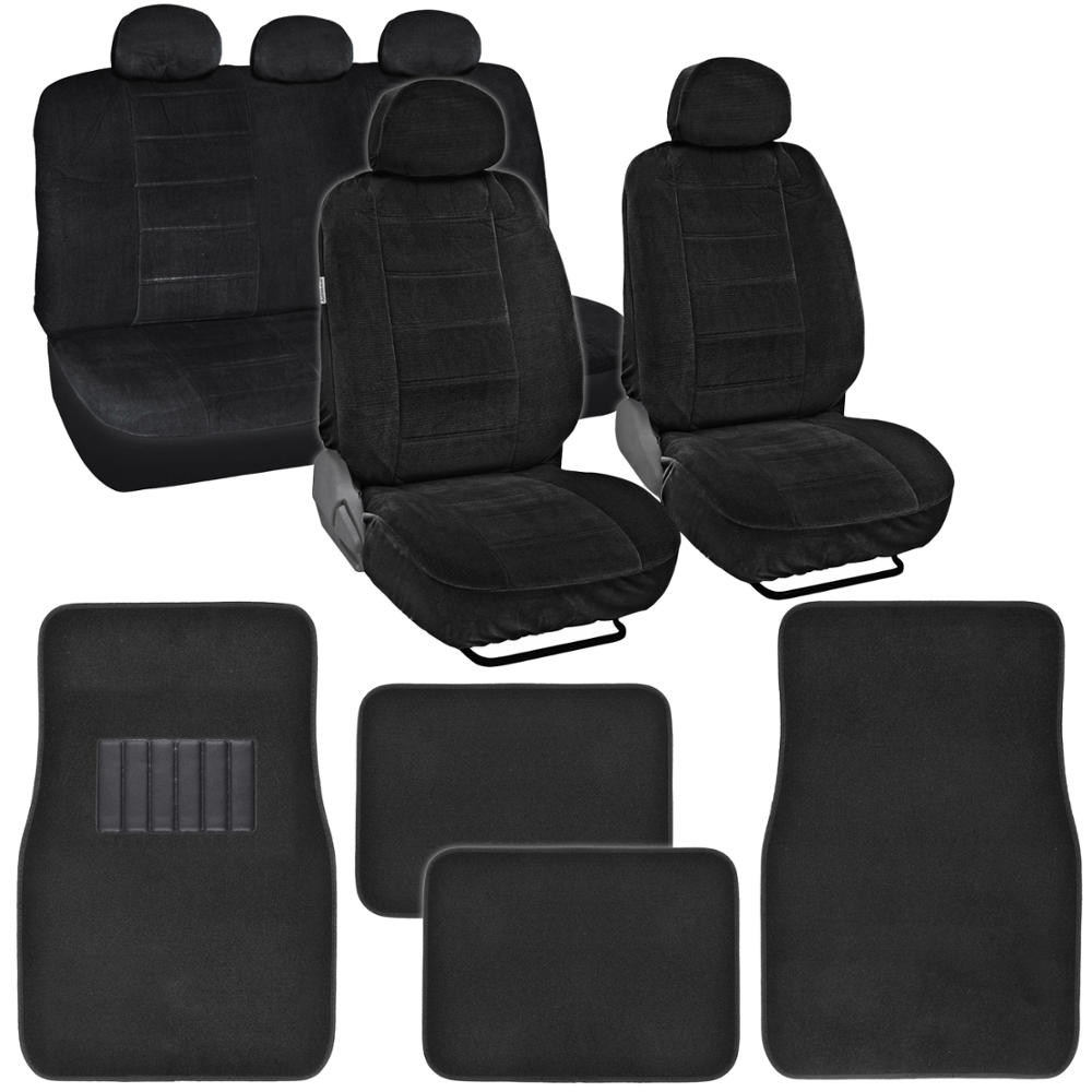 Black Smooth Velour Seat Covers W/ Carpet Floor Mats Front