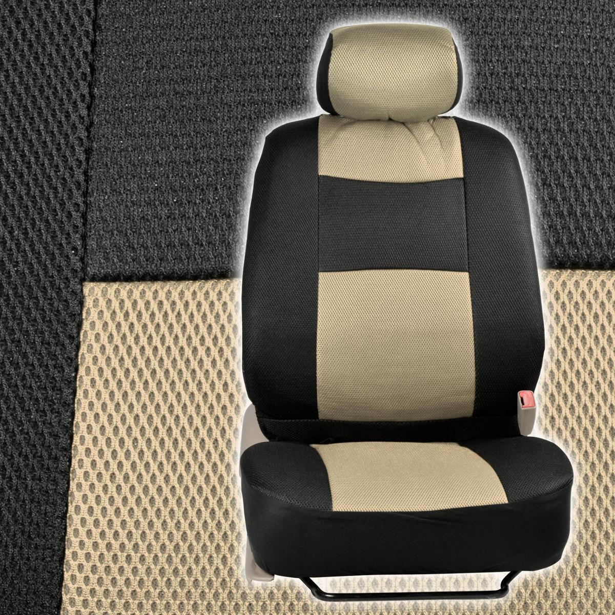 full interior car seat covers black beige supreme padding mesh netting comfort ebay. Black Bedroom Furniture Sets. Home Design Ideas