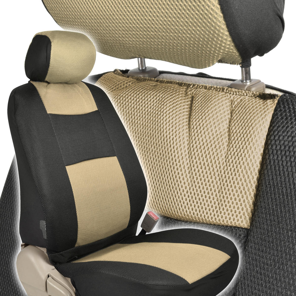 black beige mesh car seat covers premier model thickest fabric padding. Black Bedroom Furniture Sets. Home Design Ideas