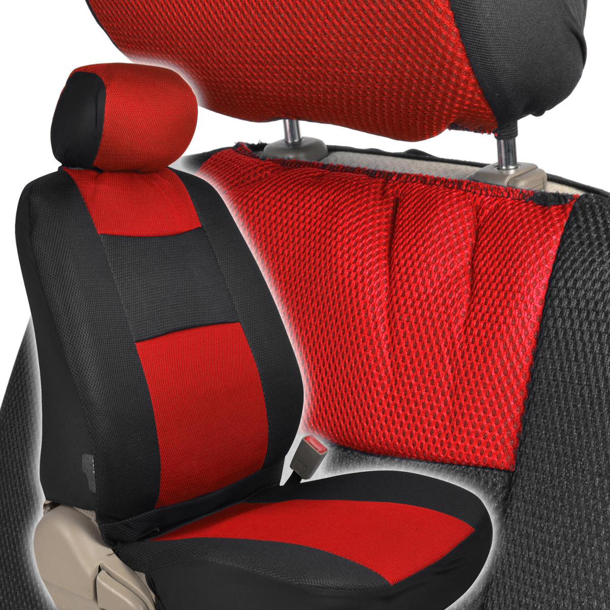 Seat Covers Black And Red Mesh Cloth Polyester 2 Color