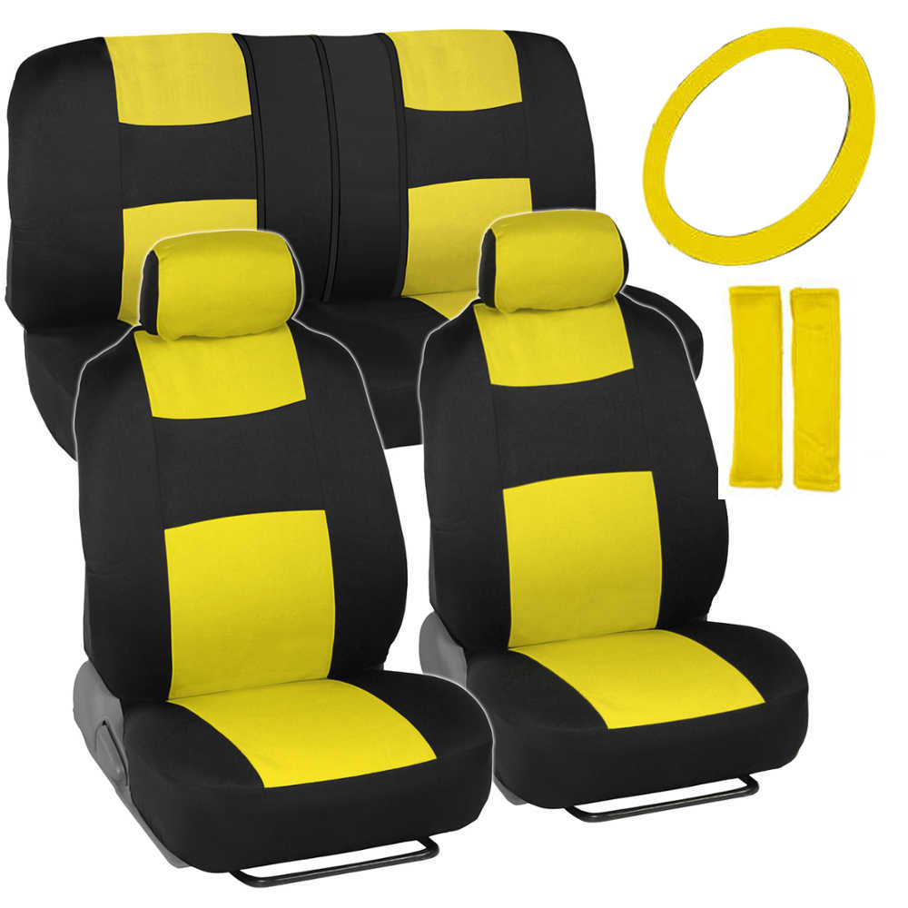 Black And Yellow SUV Seat Covers W Steering Wheel Cover