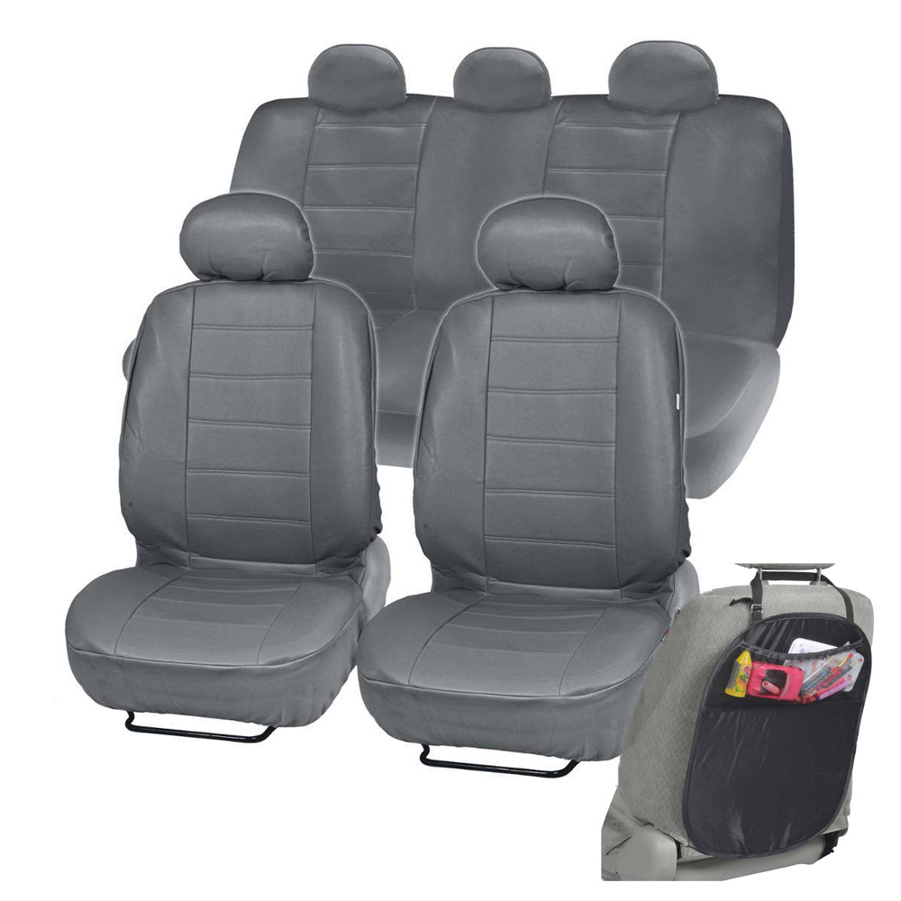 PU Leather Car Seat Covers Gray Fit For Sedan SUV W