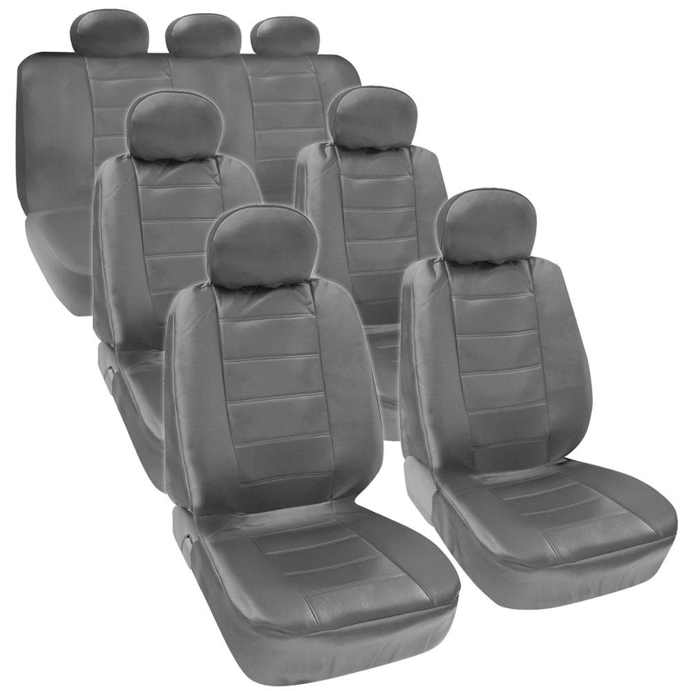 Gray PU Leather 3 Row Seat Covers For VAN SUV Airbag Safe