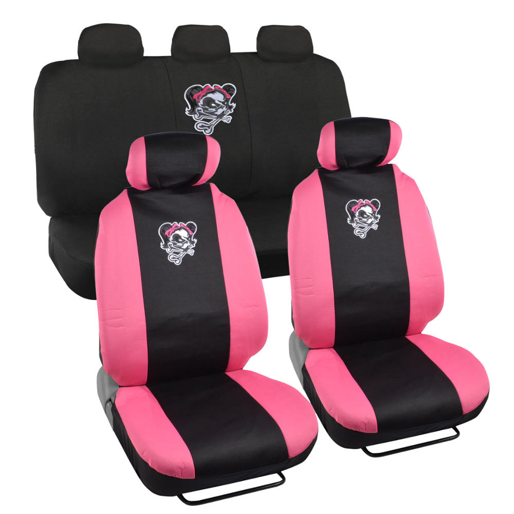 Lady Skull 9 Piece Front Car Seat Rear Bench Head Rest