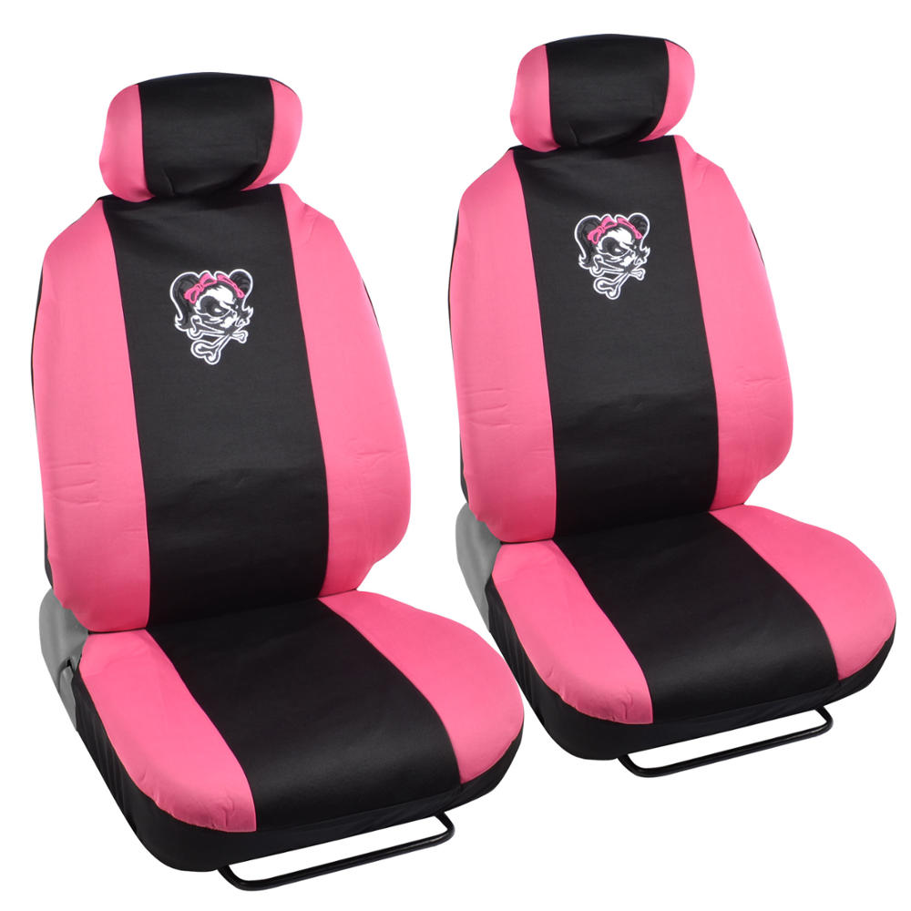 Lady Skull And Bones Car Seat Covers And Floor Mats Pink Black