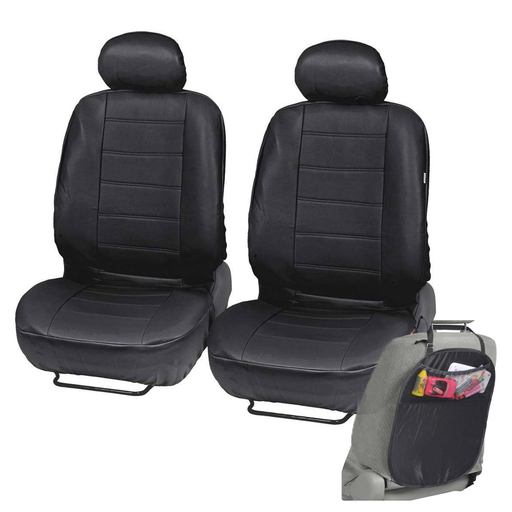 PU Leather Car Seat Covers Black Fit Sedan SUV Front Seat