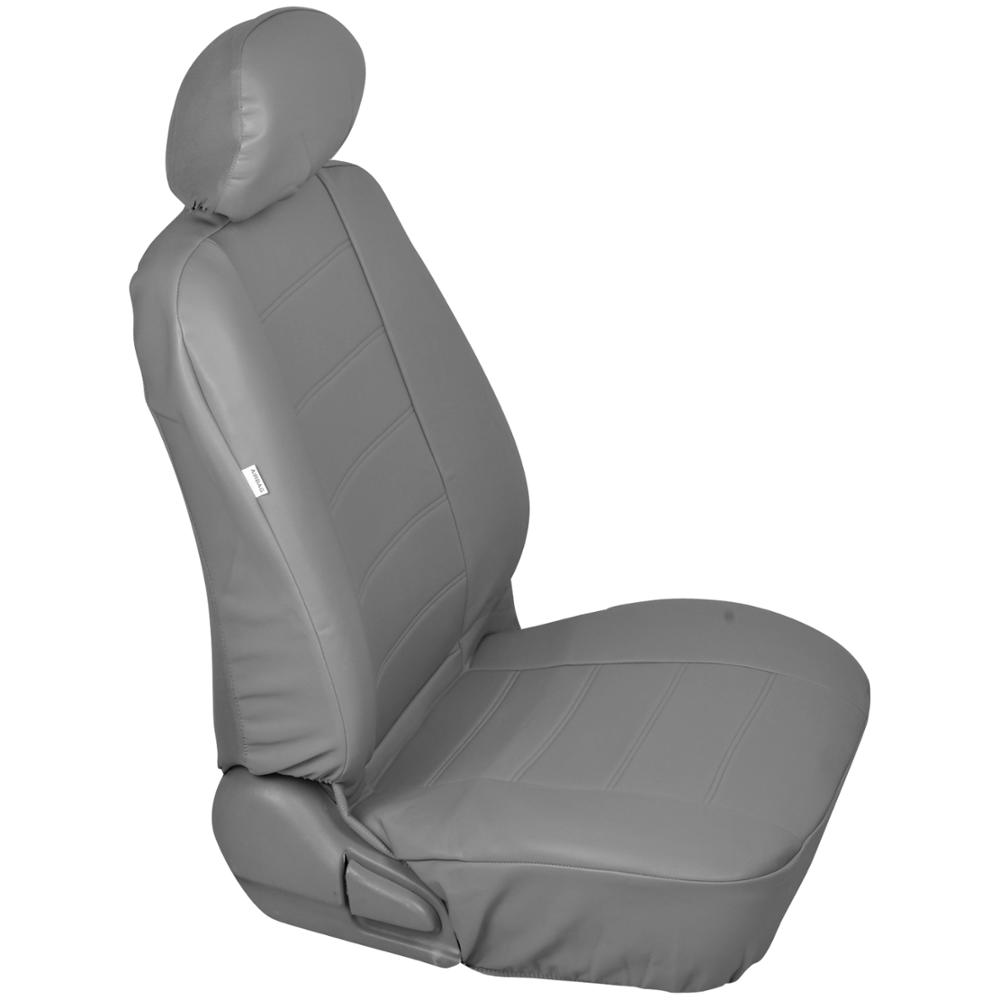 Gray Leatherette Car Seat Covers Front Pair Set Of 2 Faux