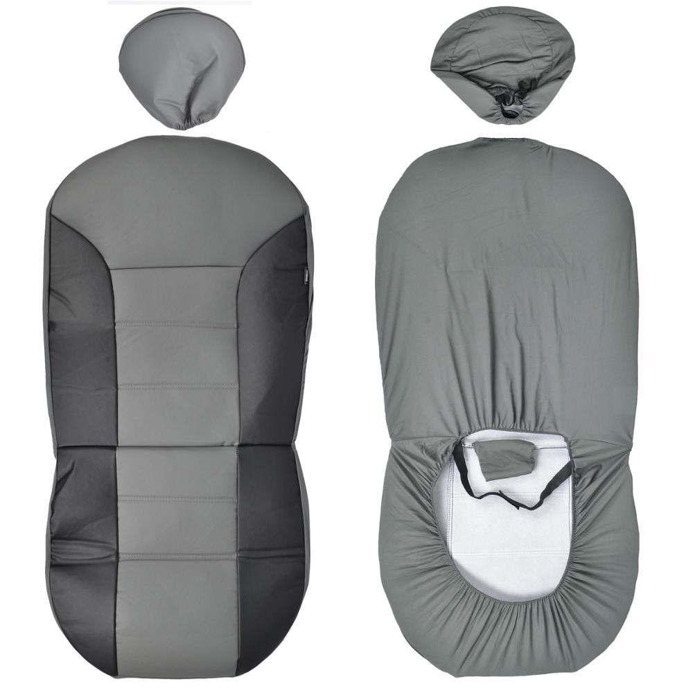 Faux Leather Car Seat Covers Front Black And Gray Two Tone
