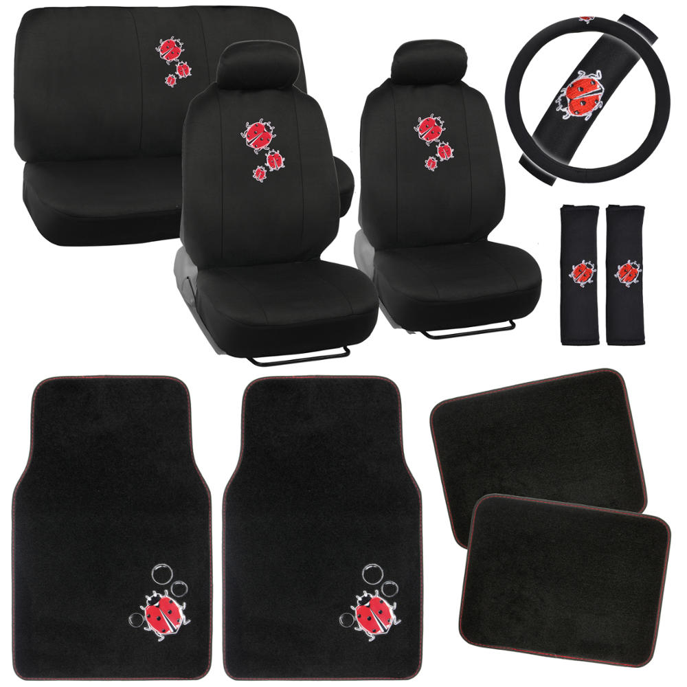ladybugs car seat covers vintage designs polyester cloth carpet floor mats picclick ca. Black Bedroom Furniture Sets. Home Design Ideas