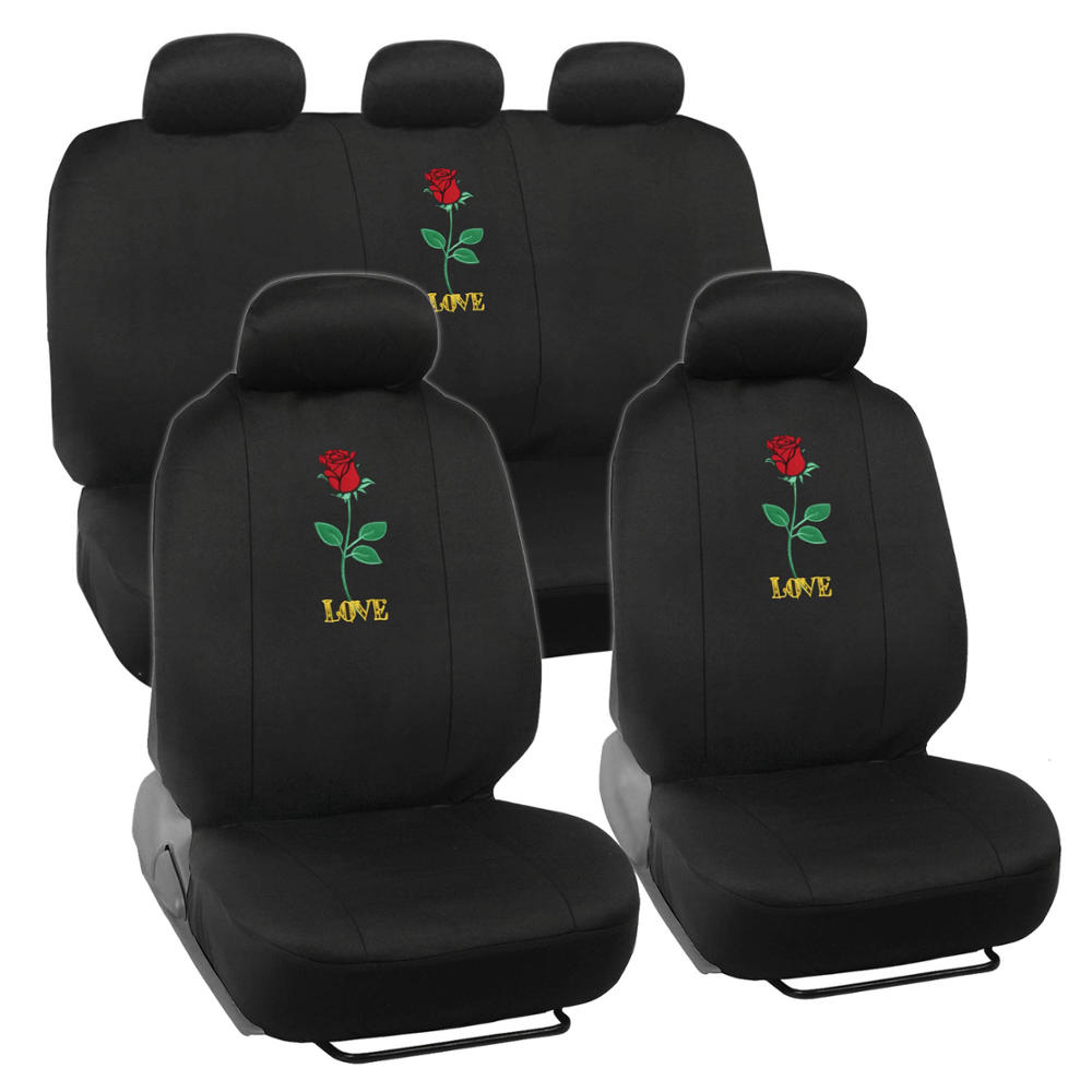 Seat Covers For Car SUV Auto Van Truck Rose Love