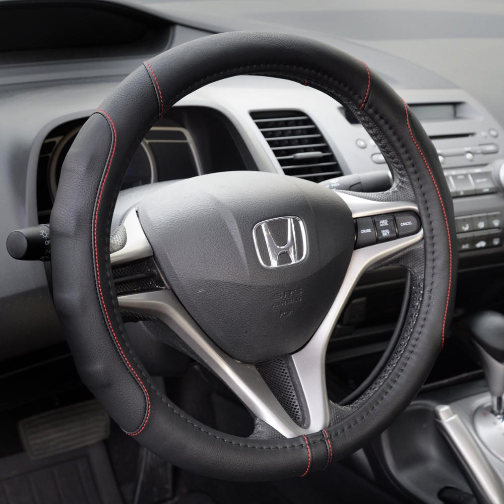 Synthetic Leather Steering Wheel Cover Black W Red