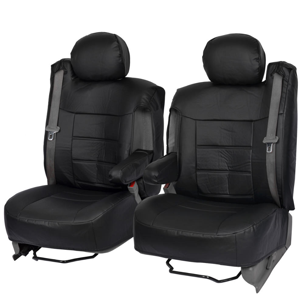 Black PU Leather Front Seat Covers Luxury For Built In