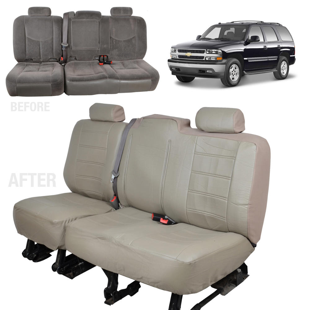 Beige Tan PU Leather Bench Seat Covers For Chevy Silverado