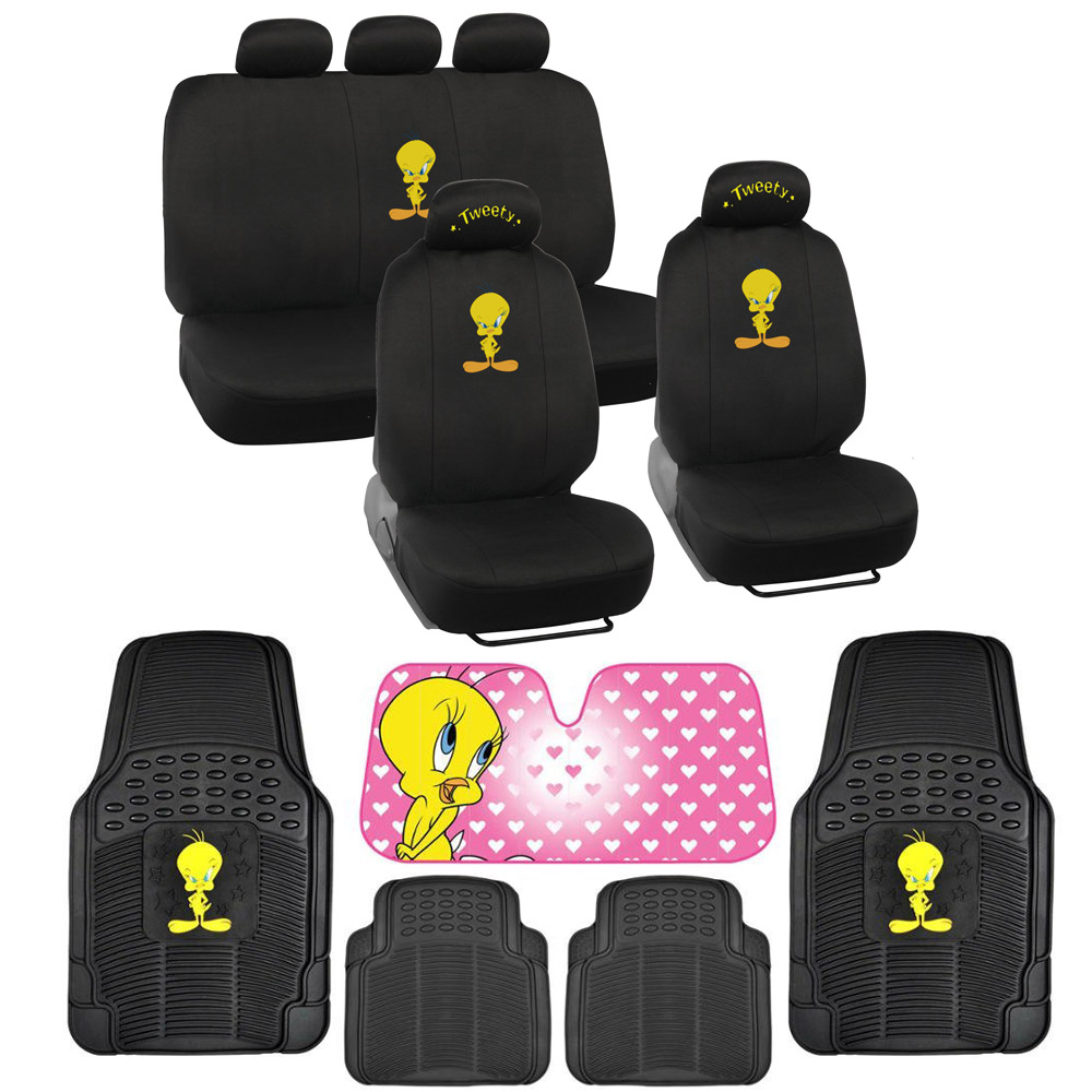 tweety bird full gift set rubber floor mats seat covers autoshade car suv ebay. Black Bedroom Furniture Sets. Home Design Ideas